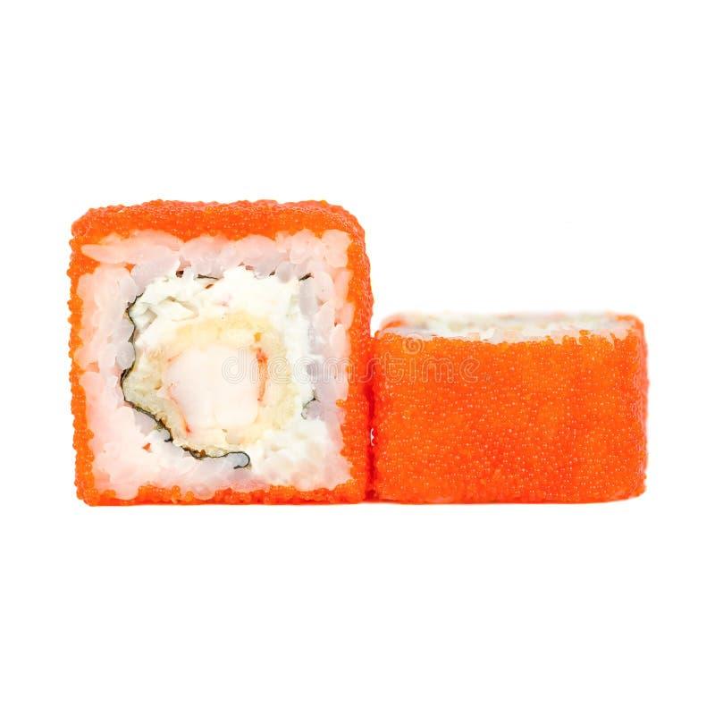 Traditionele verse Japanse die sushibroodjes op een witte achtergrond worden geïsoleerd royalty-vrije stock foto's
