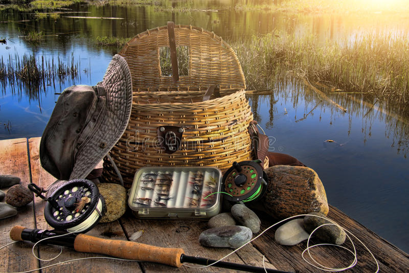 Traditionele vlieg-vissende staaf in recente middag royalty-vrije stock foto