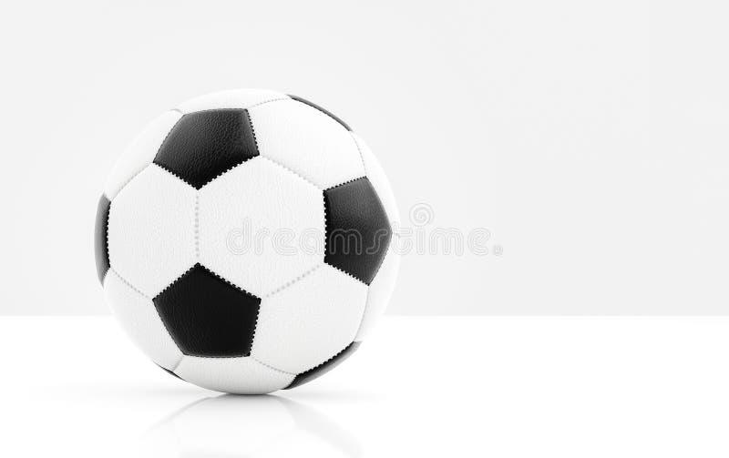 Traditionele voetbalbal met het stikken op witte oppervlakte met bezinning en lichtgrijze achtergrond en copyspace royalty-vrije stock foto