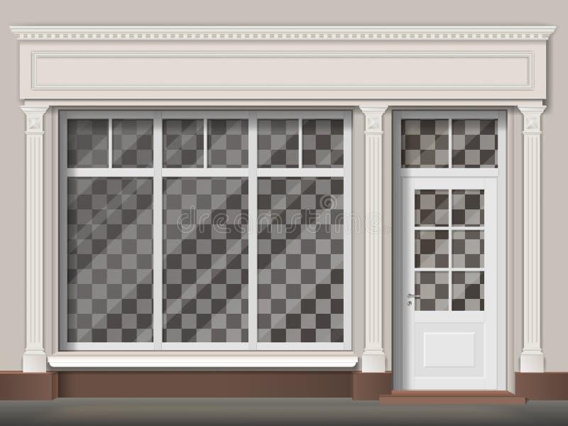 Traditionele winkelvoorgevel met grote venster en kolommen royalty-vrije illustratie