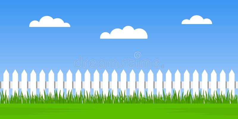 Traditionele witte omheining met groen gras tegen een bewolkte hemelachtergrond naadloos de zomerlandschap Vlakke vectorillustrat stock illustratie