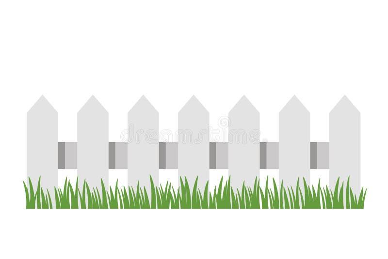 Traditionele witte omheining met groen gras Vlakke vector ge?soleerde illustratie stock illustratie