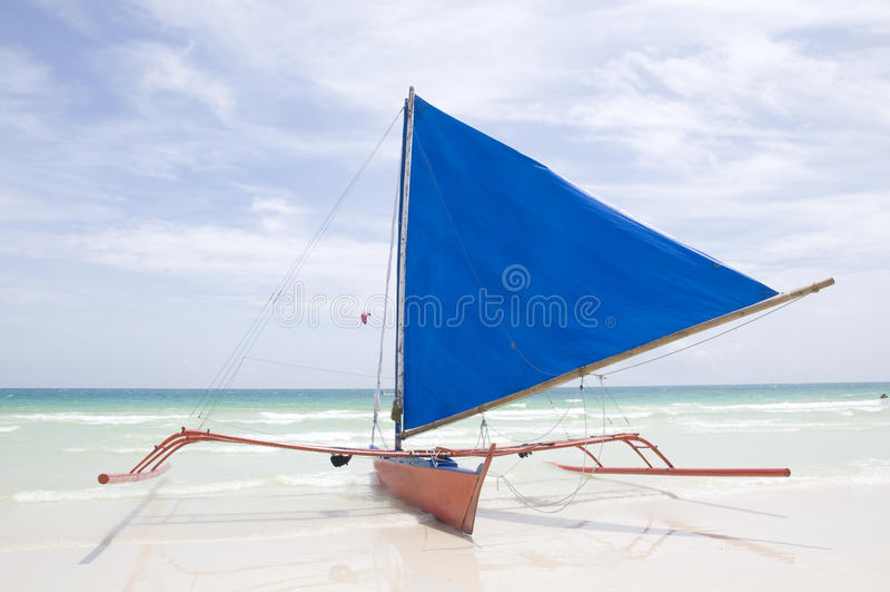 Traditionele Zeilboot op Boracay stock foto's