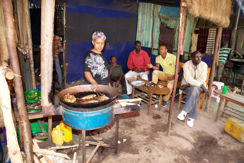 Traditionell afrikansk restaurang royaltyfri fotografi