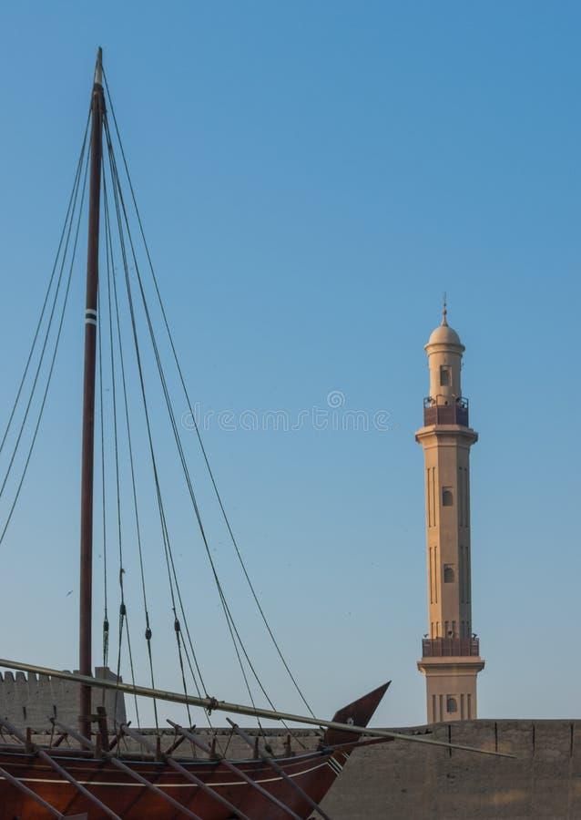 Traditionell arabisk Dhow på det Dubai museet royaltyfri foto