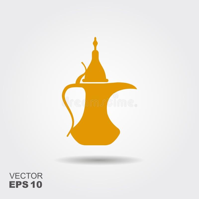 Traditionell arabisk kaffekruka Plan vektorsymbol royaltyfri illustrationer