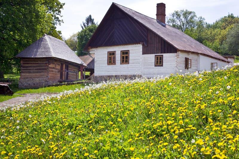traditionell arkitektur i museum för öppen luft i Vysoky Chlumec, central bohemisk region, Tjeckien Samling av typisk registrerin royaltyfria bilder