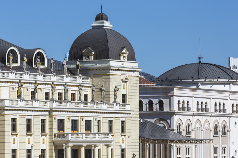 Traditionell arkitektur i Skopje, Makedonien royaltyfri foto