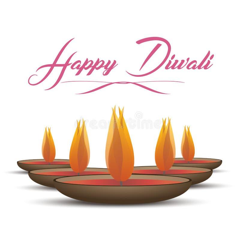 Traditionell beröm för vektorillustration av den lyckliga diwalien Festival av tända lampor för ljus elegant olja Indien feriebak royaltyfri illustrationer