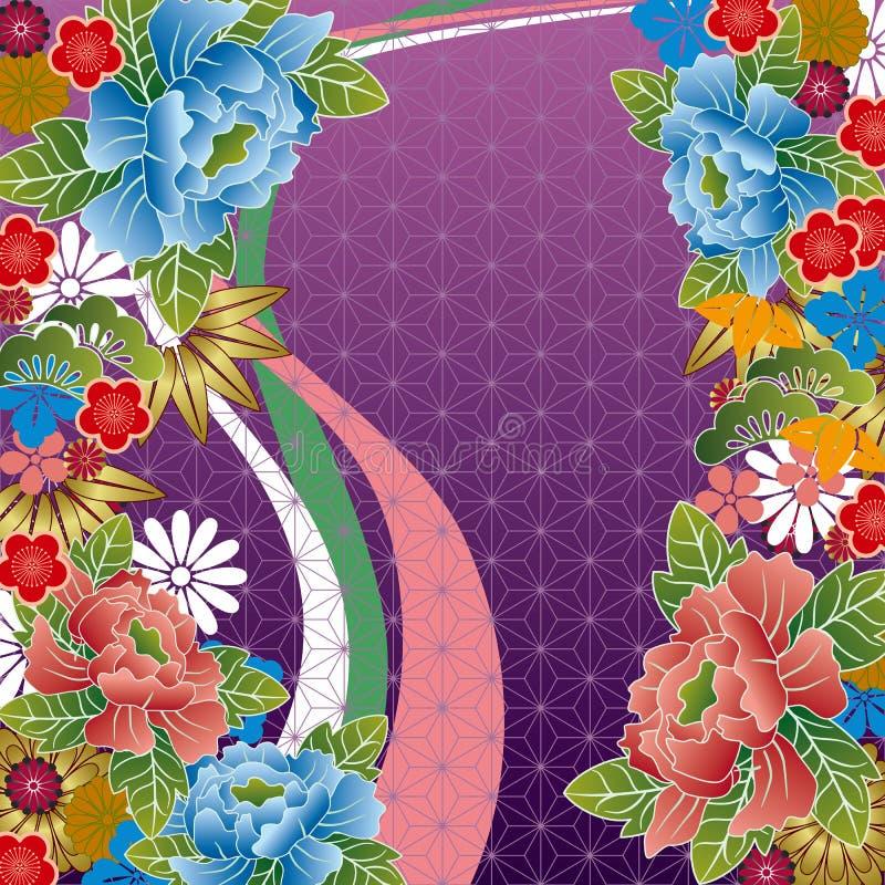 traditionell blom- japansk modell royaltyfri illustrationer