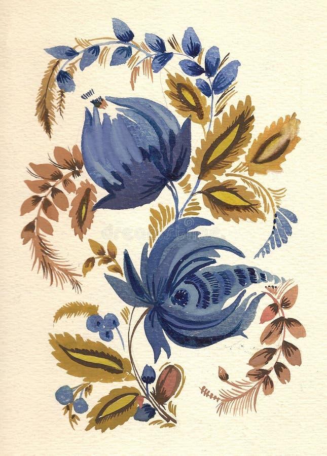 traditionell blommamodellryss vektor illustrationer