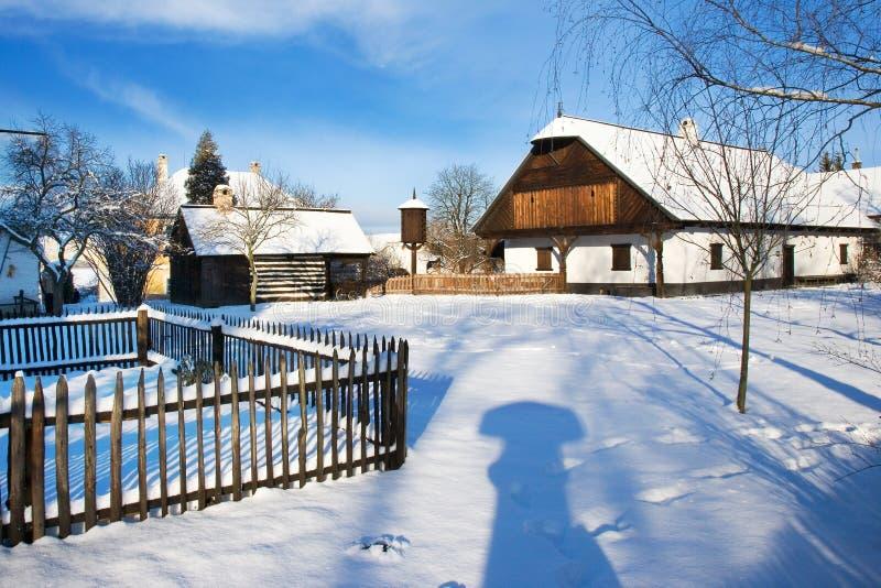 Traditionell bondaktig arkitektur i frilufts- museum i Prerov na fotografering för bildbyråer