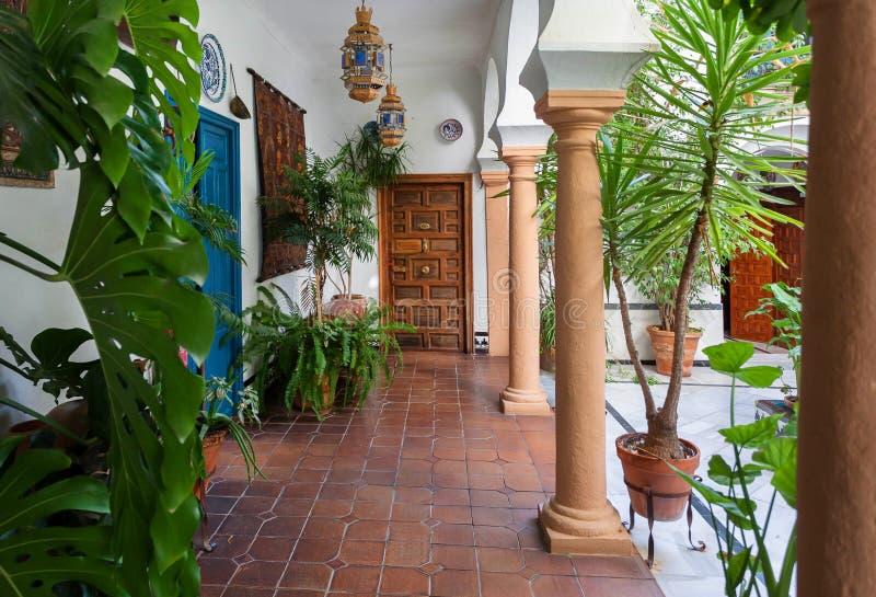 Traditionell borggård av Andalusia Gröna växter, kolonner, historiskt hus i Cordoba, Spanien arkivfoton