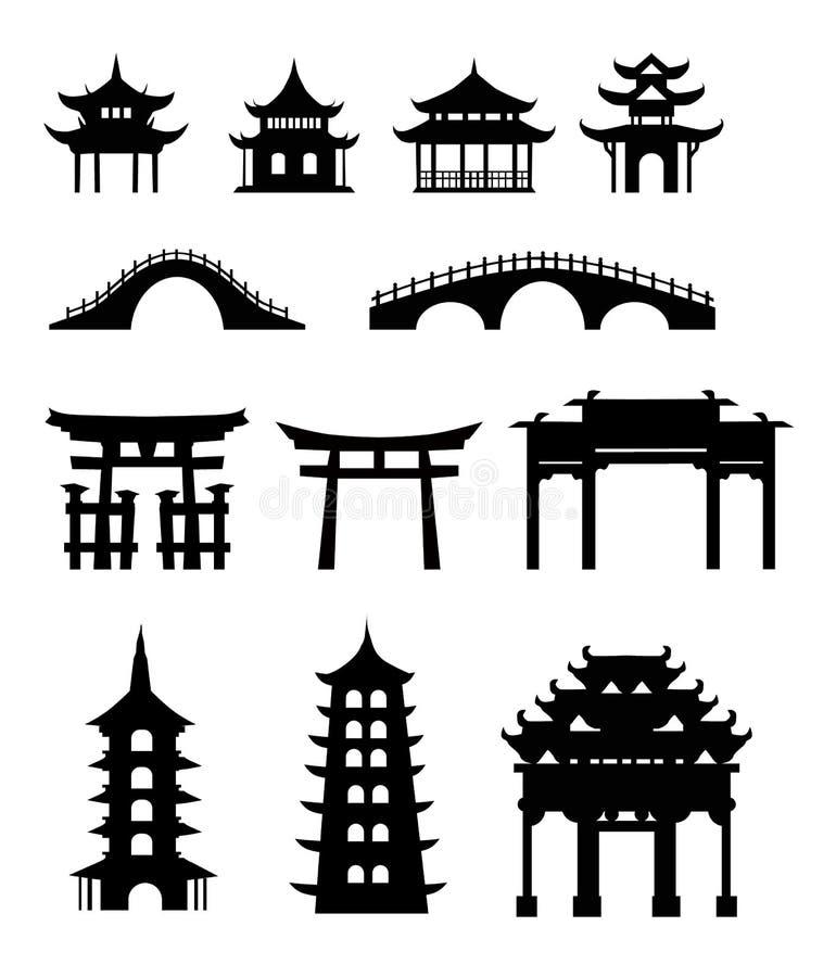 traditionell byggnadskines stock illustrationer