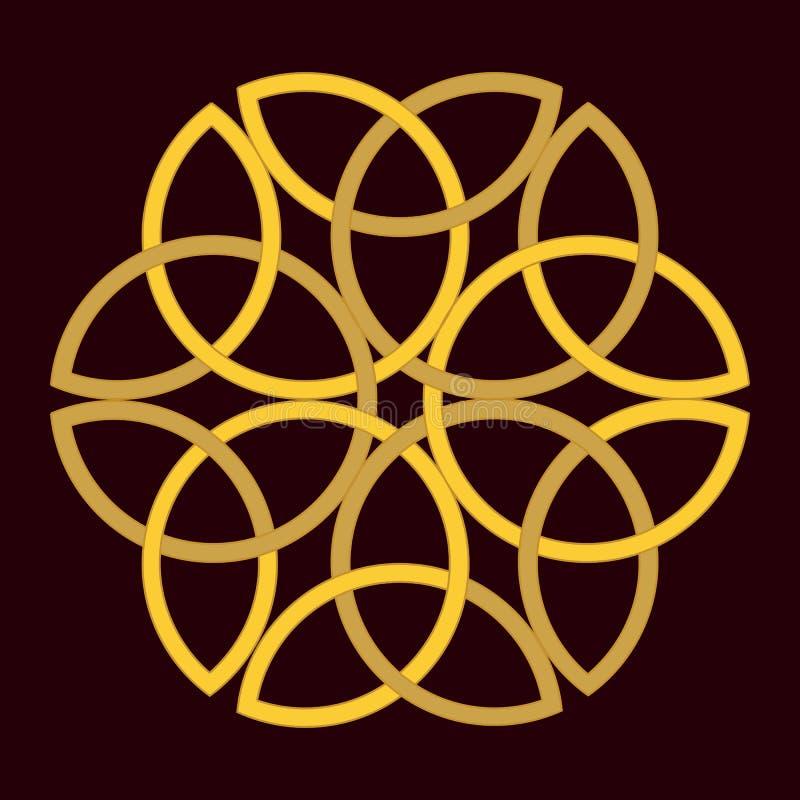 Traditionell celtic guld- prydnad på mörk bakgrund vektor illustrationer