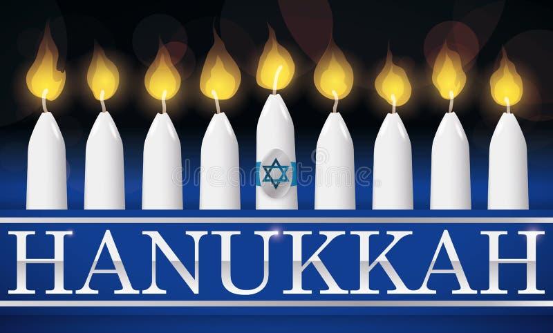 Traditionell Chanukkah som tänds stearinljus med silverbokstäver, illustration vektor illustrationer