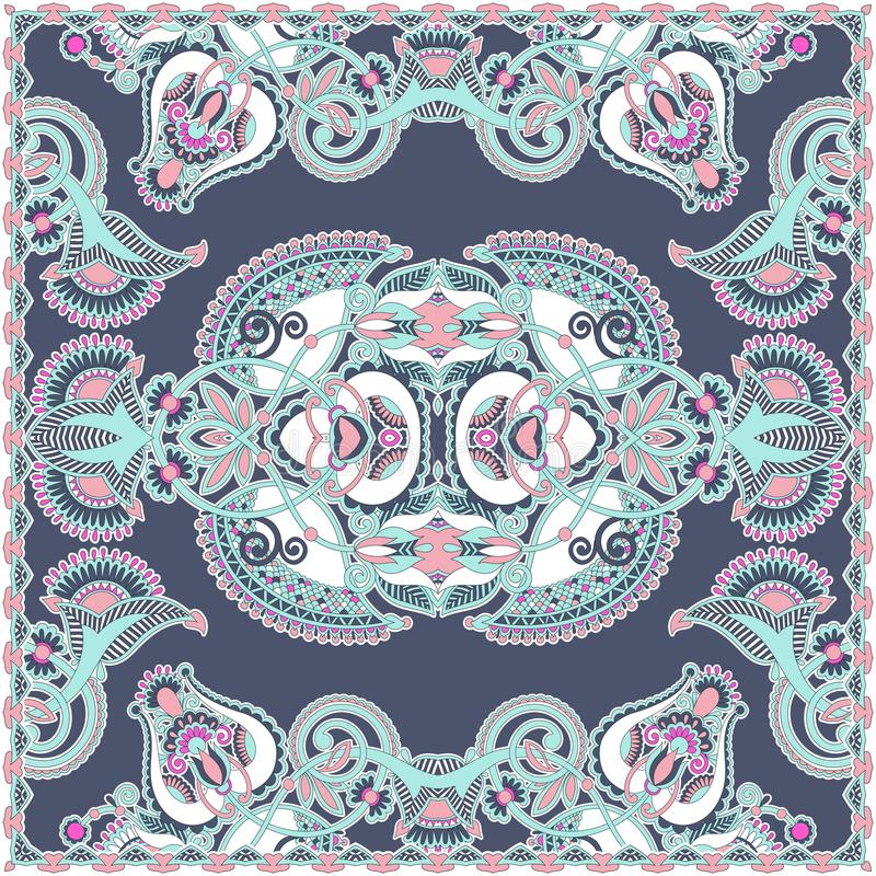 Traditionell dekorativ blom- arabesquepaisley bandanna royaltyfri illustrationer