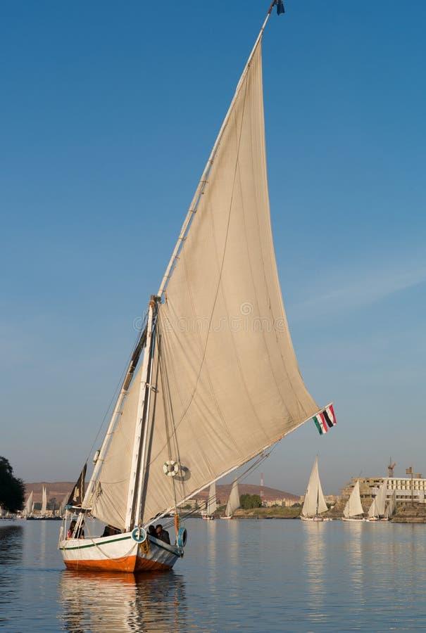 Traditionell egyptisk segelbåt nära Aswan, Egypten royaltyfri foto