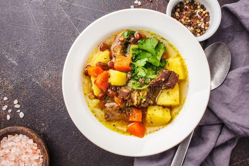 Traditionell eintopfsoppa med kött, bönor och grönsaker i en vit platta arkivfoton