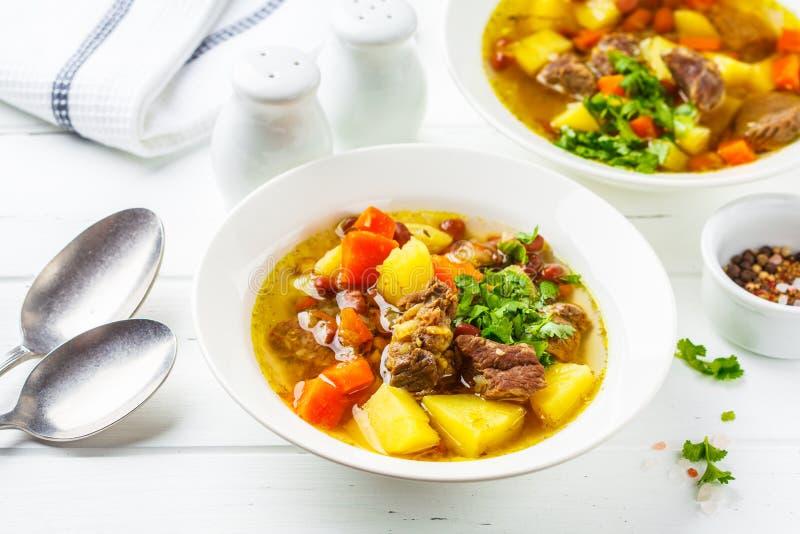 Traditionell eintopfsoppa med kött, bönor och grönsaker i en vit platta, vit bakgrund royaltyfri foto