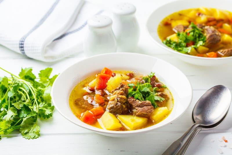 Traditionell eintopfsoppa med kött, bönor och grönsaker i en vit platta, vit bakgrund royaltyfri bild