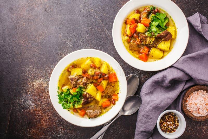 Traditionell eintopfsoppa med kött, bönor och grönsaker i en vit platta, kopieringsutrymme fotografering för bildbyråer