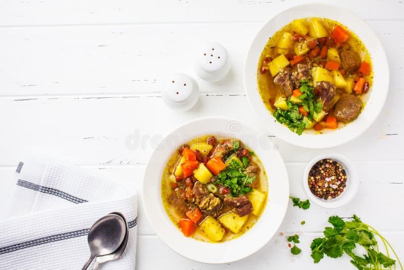 Traditionell eintopfsoppa med kött, bönor och grönsaker i en vit platta, kopieringsutrymme, vit bakgrund royaltyfria bilder