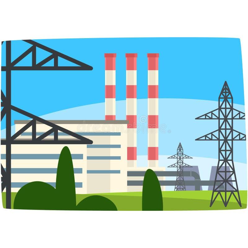 Traditionell energiutvecklingskraftverk, illustration för fossila bränslenkraftverkhorisontalvektor royaltyfri illustrationer