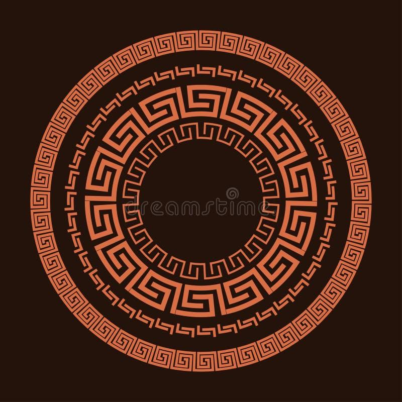 Traditionell enkel slingringar Terrakota cirkelram på den bruna bakgrunden Gammalgrekiskaprydnad stock illustrationer