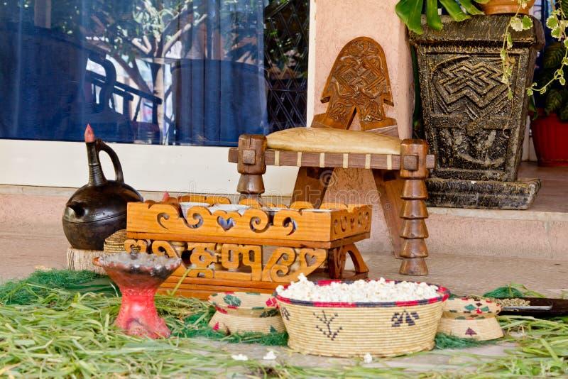 traditionell ethiopian aktivering för kaffe royaltyfria bilder