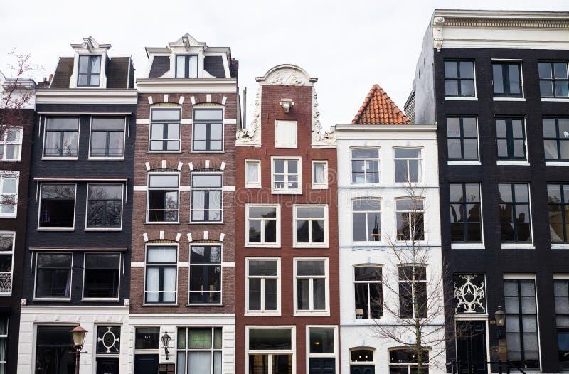 Traditionell färg kontrasterade holländska byggnader i Amsterdam royaltyfria bilder