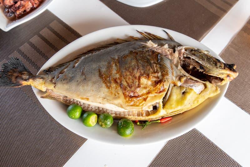 Traditionell filippinsk mat - grillade Unicorn Fish arkivbilder