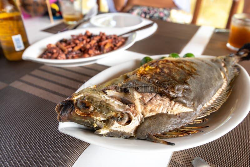 Traditionell filippinsk mat - grillade Unicorn Fish royaltyfri foto