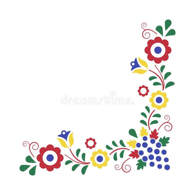 Traditionell folk prydnad, den Moravian prydnaden, blom- broderisymbol som isoleras på vit bakgrund stock illustrationer