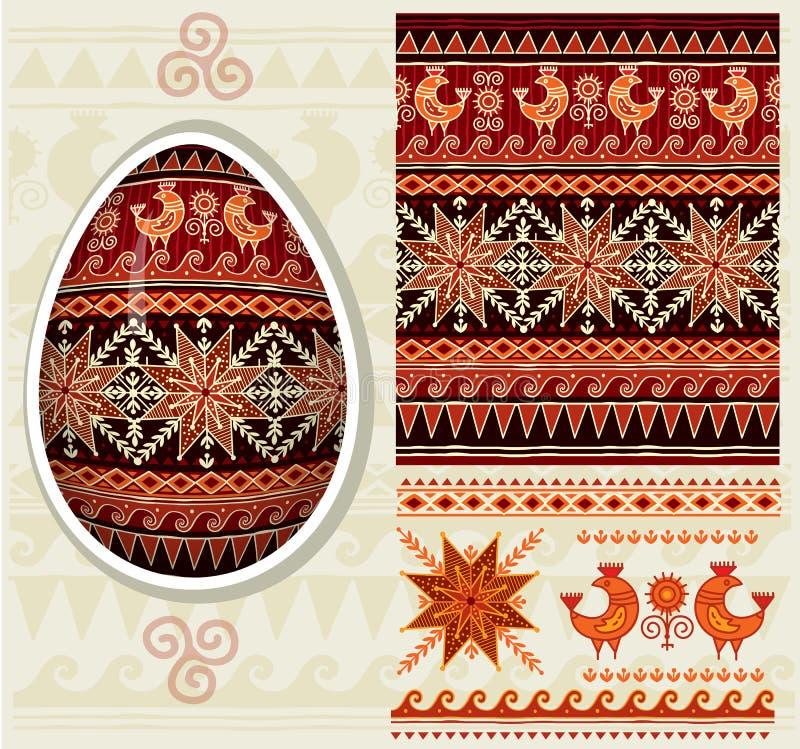 Traditionell folkprydnad för påskägg stock illustrationer