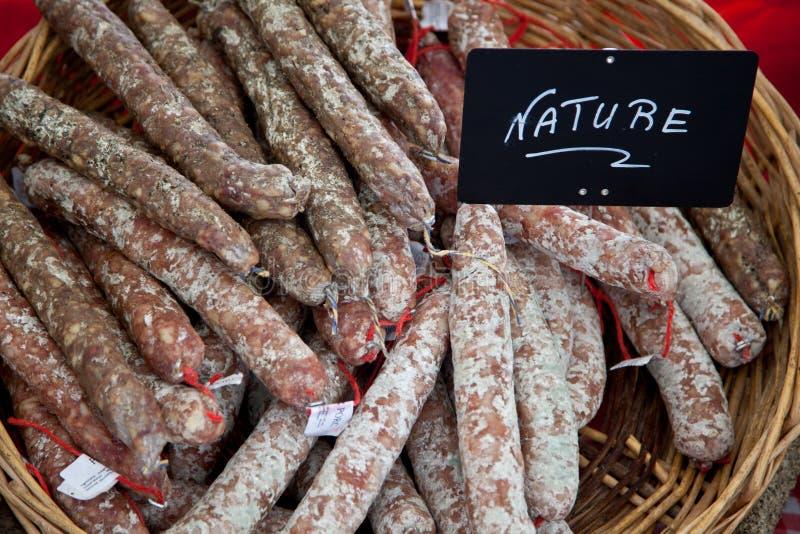traditionell fransk salami royaltyfri fotografi