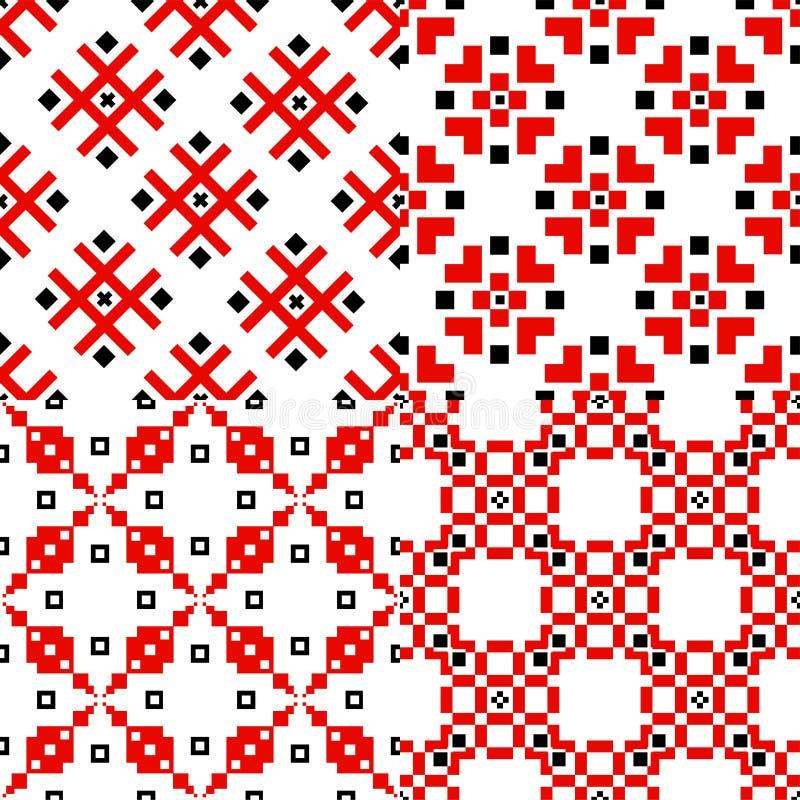 Traditionell garneringuppsättning för slavisk geometrisk prydnad av modeller stock illustrationer