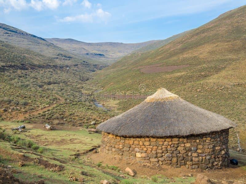 Traditionell halmtäckt stenrundakoja av Basuthoen i berghögländerna av Lesotho, sydliga Afrika fotografering för bildbyråer