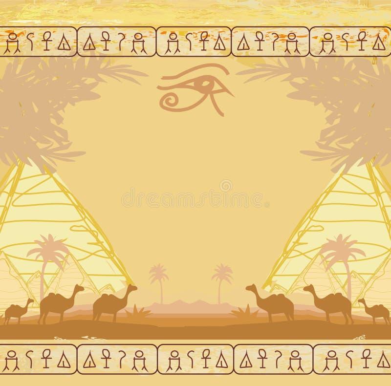 Traditionell Horus öga och kamelhusvagn stock illustrationer
