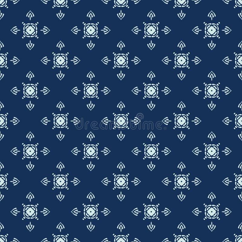 Traditionell indigoblå blå japansk sömlös vektormodell Vaddera tygstil stock illustrationer