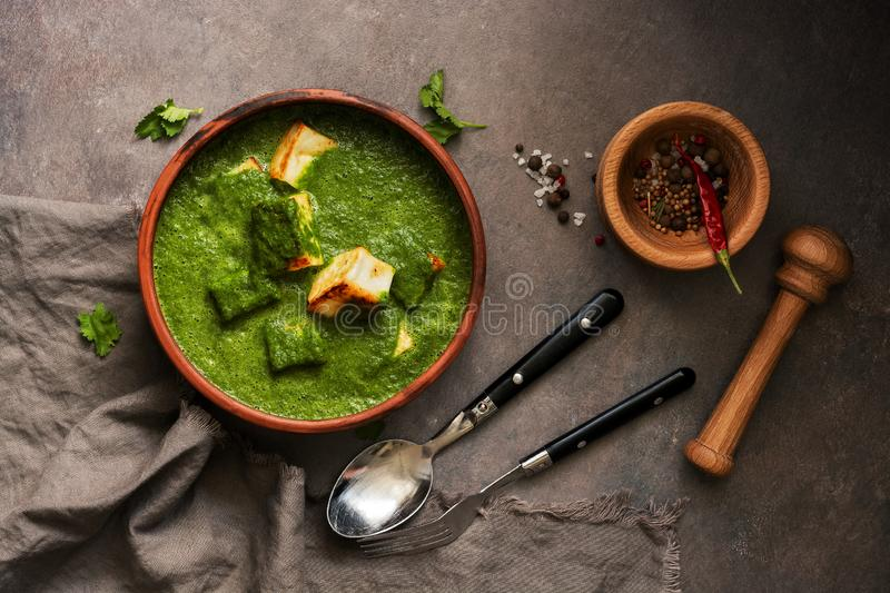 Traditionell indisk mat Palak Paneer p arkivbild