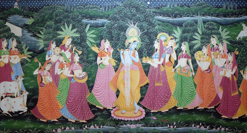 Traditionell indisk siden- målning för Batik fotografering för bildbyråer