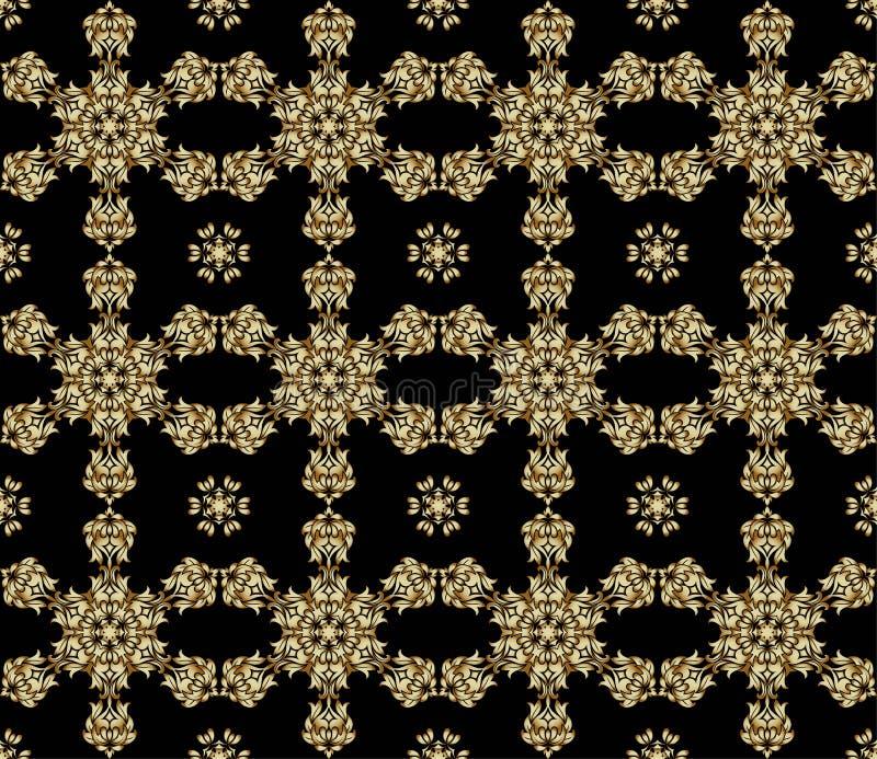Traditionell indisk stil, dekorativa blom- beståndsdelar Vektorillustration av den sömlösa modellen för guld- mehndi vektor illustrationer