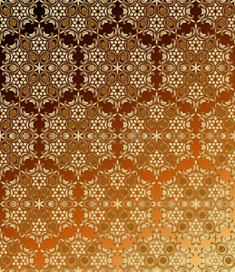 Traditionell indisk stil, dekorativa blom- beståndsdelar Vektorillustration av den sömlösa modellen för guld- mehndi royaltyfri illustrationer
