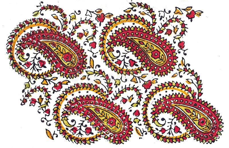 traditionell indisk textil för design royaltyfri illustrationer