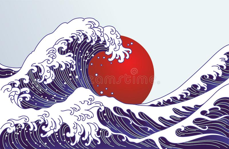 Traditionell Japan våg, stor röd solillustration Japan flaggadesign stock illustrationer