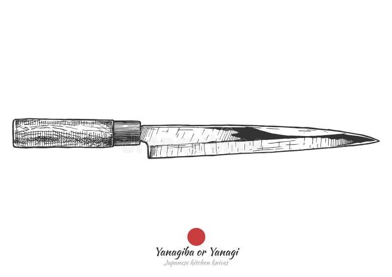 Traditionell japansk kökkniv stock illustrationer