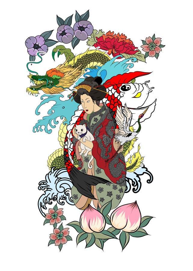 Traditionell japansk tatueringdesign för tillbaka kropp Japanska kvinnor i kimono med hennes katt och drake Hand dragen geishafli stock illustrationer