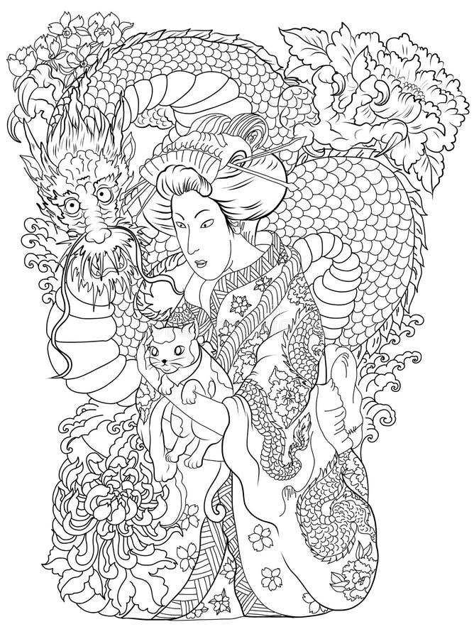 Traditionell japansk tatueringstil Japanska kvinnor i kimono med hennes katt och gamla drake fd stock illustrationer