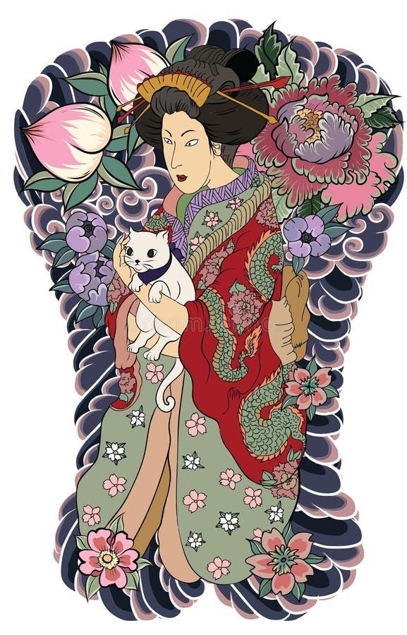 Traditionell japansk tatueringstil Japanska kvinnor i kimono med hennes katt och gamla drake fd vektor illustrationer